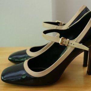 Louis Vuitton Black/Tan Mary Jane heels 39/8.5-9